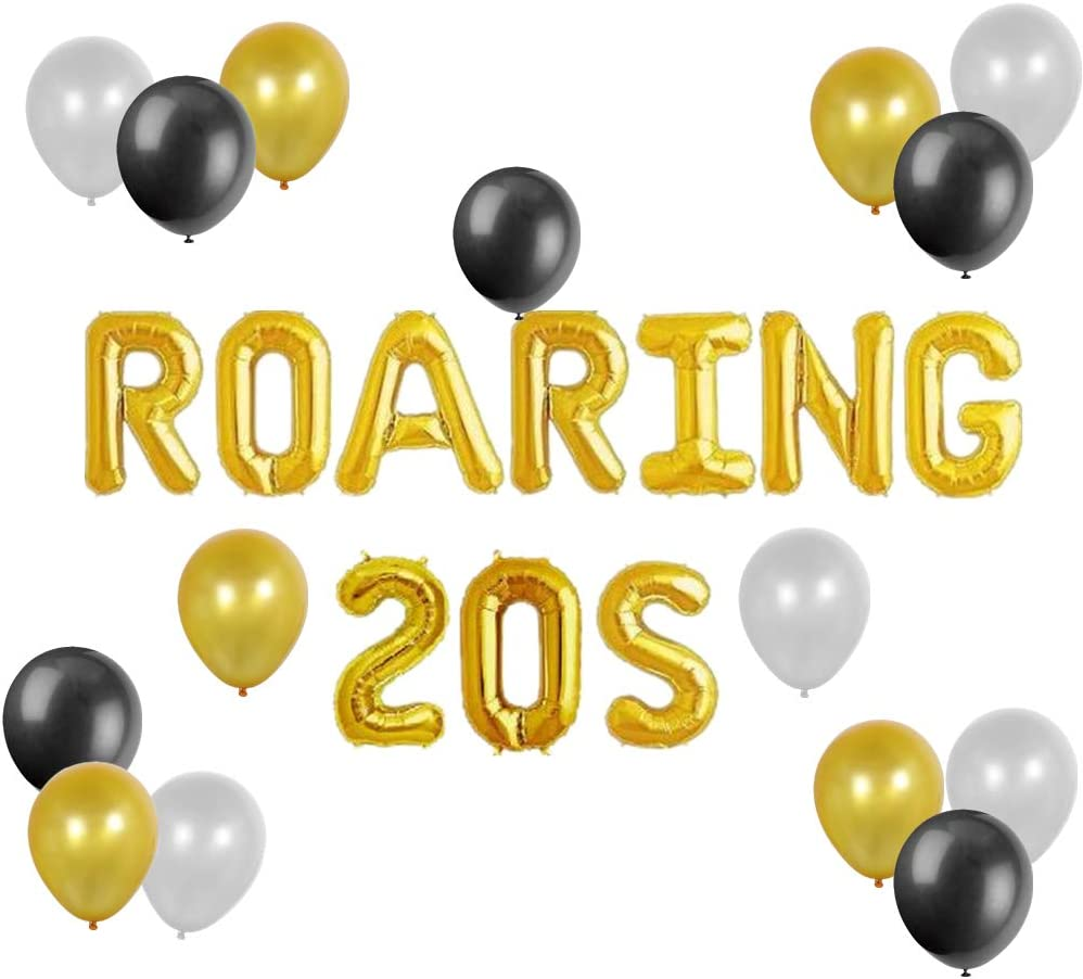 JeVenis Roaring 20s Balloons Great Gatsby Birthday Decor 20th Birthday Party Balloons 20 Anniversary Decorations Roaring 20s Flapper Party Roaring Twenties Birthday Balloon