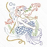 Heidi Boyd | Anchored Mermaid Embroidered Whimsy Tea Towel Kit | Make Your Beautiful Mermaid Come to Life with This New Easy to Sew Mermaid Embroidery Kit