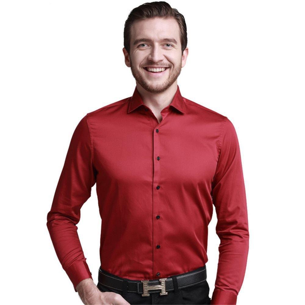Nvunskd männer lässig Hemd Hemd  Herren - Polo - Shirt alle Match Mode,Rot - rot,XL