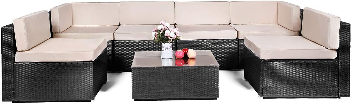 AECOJOY 7 Piece Outdoor Patio PE Rattan Wicker Sofa Cushioned Sectional Furniture Set 7 Pieces, Black