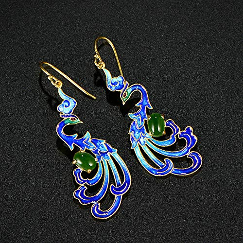 - Blue Phoenix Hand-Crafted Art Sterling Silver Earrings Set | with Green Stone Original Jewelry