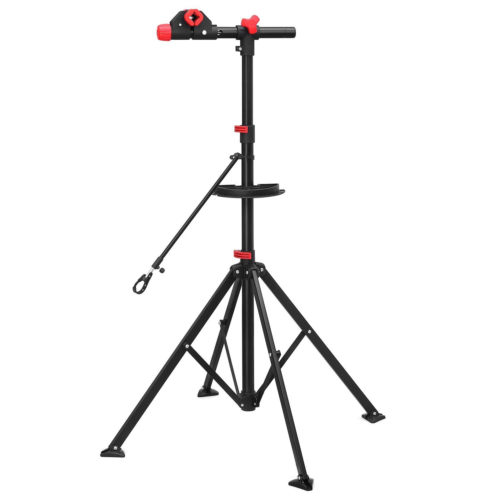 SONGMICS Soporte para reparación de Bicicleta Bandeja de Herramientas Altura Ajustable Entre 108 y 188 cm