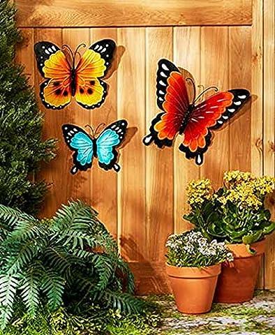 Wall Art Indoor / Outdoor Metal Wall Decor Butterfly Set of 3 (Outdoor Decor)