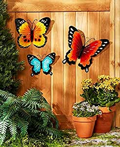 wall art indoor outdoor metal wall decor butterfly set of 3 patio lawn garden. Black Bedroom Furniture Sets. Home Design Ideas
