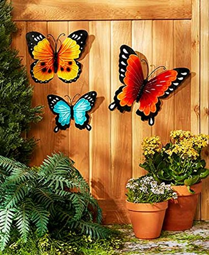Wall Art Indoor / Outdoor Metal Wall Decor Butterfly Set of 3 (Outdoor Butterfly Wall Art)