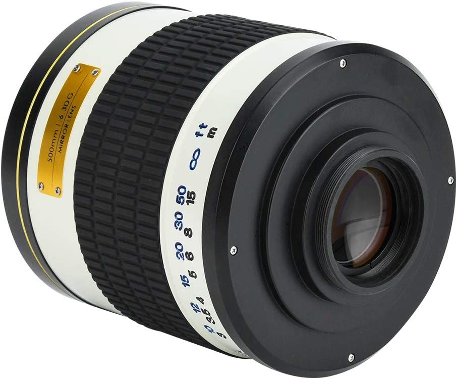 with Storage Pouch T2-M4//3 Adapter Ring Durable 500mm f//6.3 Telephoto Mirror Lens for Mirrorless Camera White