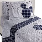 Ethan Allen | Disney Ticking Stripe Mickey Mouse Quilt, Midnight (Navy), Full/Queen