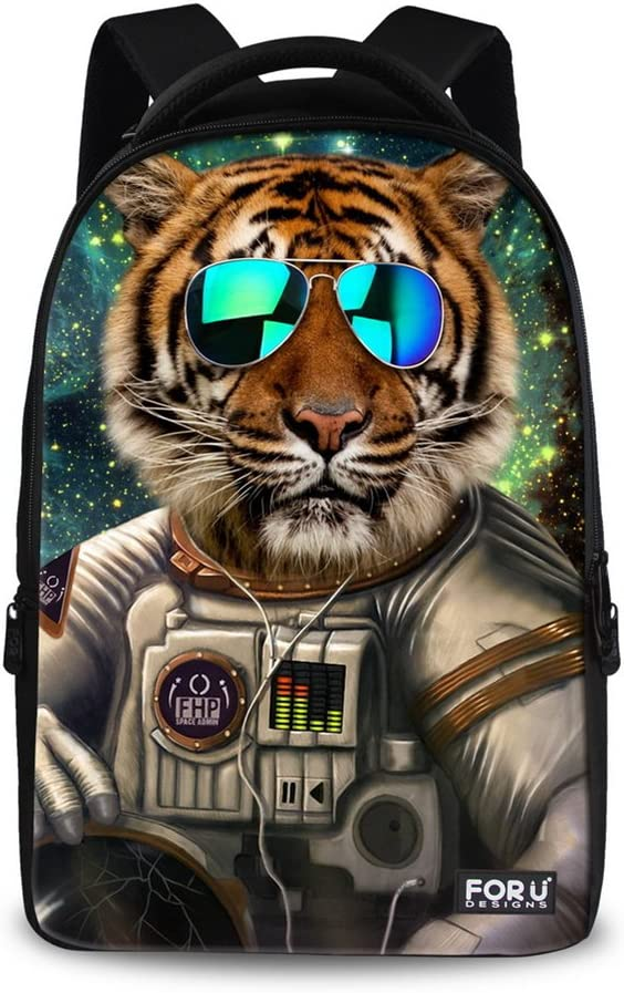 FOR U DESIGNS Cool Tiger Print Large School Laptop Backpack for Boys