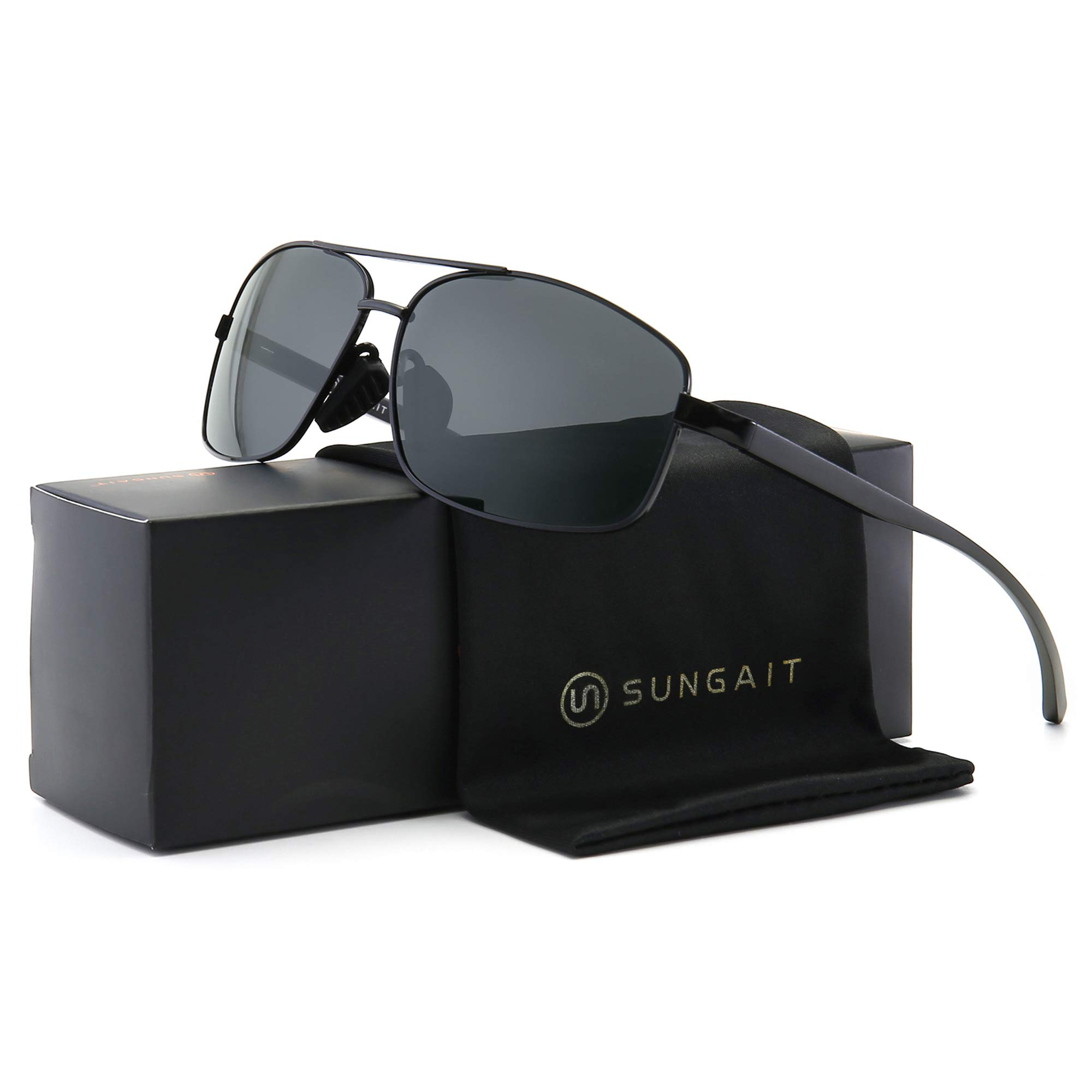SUNGAIT Ultra Lightweight Rectangular Polarized Sunglasses UV400 Protection (Black Frame Gray Lens, 62) Metal Frame 2458 HKH by SUNGAIT