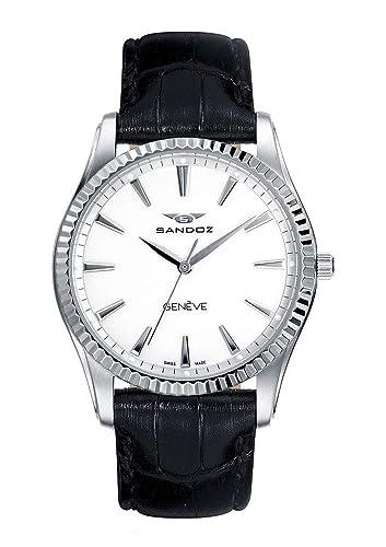 Sandoz Classic 81308-00 - Reloj de mujer, de acero , con correa de piel color negro, con cristal de zafiro y maquinaria Suiza.: Amazon.es: Relojes
