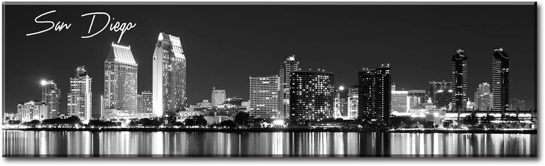 """DJSYLIFE- San Diego Skyline Wall Art,Black and White Stretched Canvas Art Prints, Wall Decoration Painting for Bedroom or Office, Ready to Hang 13.8""""x47.3"""""""