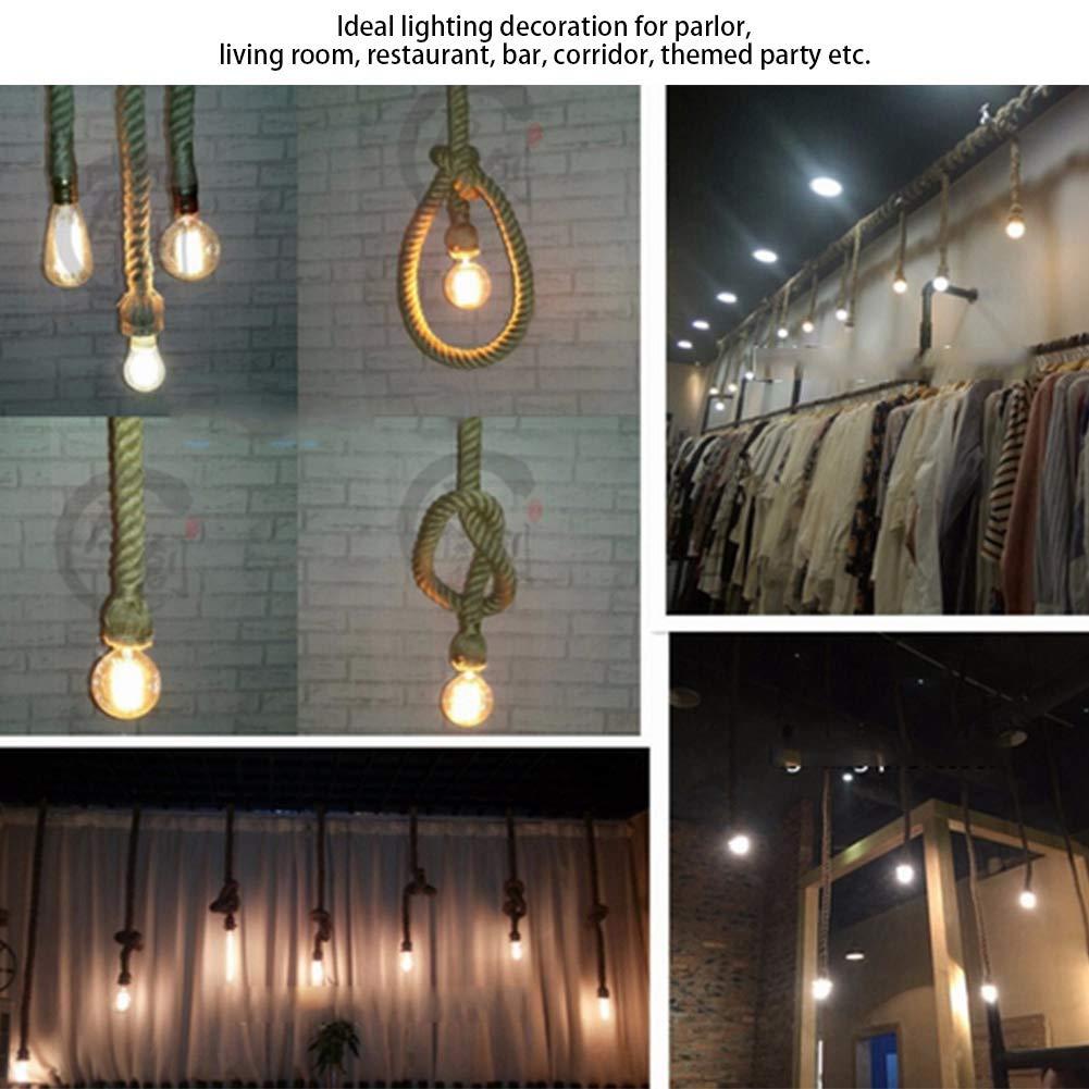 Vintage Hemp Rope Ceiling Light Base Restaurant 85-265v Dual Heads Copper Wire E27 Socket Pendant Lamp Bulb Holder 3M Chandelier Lighting Decoration for Living room