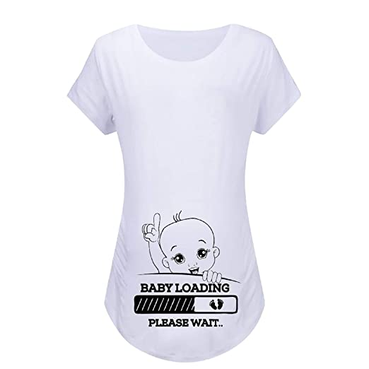 6fce18f8c36c5 Women Short Sleeve Maternity Tops, Cute Funny Graphic Baby Loading Comfy  Modal Mommy T-Shirt Pregnancy Clothes at Amazon Women's Clothing store: