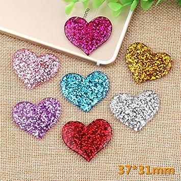 20X Heart Flat Back Resin Glitter Rhinestones Scrapbooking Wedding Craft Making