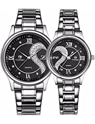 Valentines Romantic Stainless Steel His and Hers Wrist Watches,fq-102 Gifts Set for Lovers,Black Color 2 Pieces
