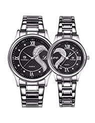 Tiannbu Fq-102 Stainless Steel Romantic Pair His and Hers Wrist Watches Men Women Black Set of 2