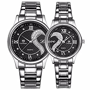 Valentines Romantic Pair His and Hers Wrist Watches Silver, Stainless Steel Bracelet,Set of 2