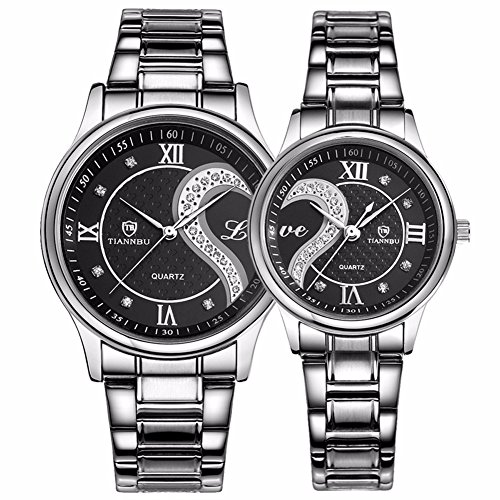 Valentine's Romantic Stainless Steel His and Hers Wrist Watches,fq-102 Gifts Set for Lovers,Black Color 2 Pieces by DREAMING Q&P