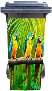 3D Modern Forest Parrots Rubbish Bin Sticker Self-adhesive Kitchen Wall Sticker