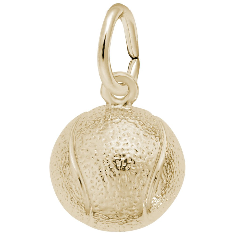 10k Yellow Gold Tennis Ball Charm, Charms for Bracelets and Necklaces