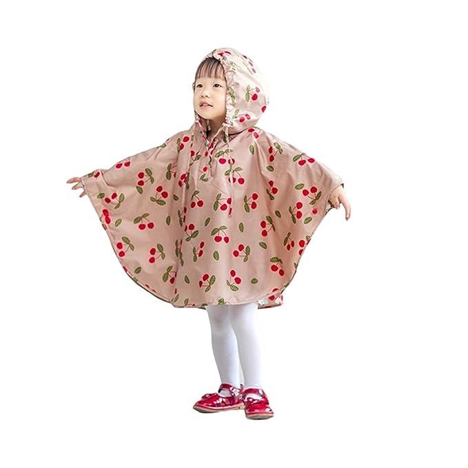c0e8d85eb4e82b wuxi Unisex Kinder Verdicken Poncho Kleinkind mit Kapuze Regen Poncho  Mantel Wasserdicht Regenkleidung mit Kirschen Druck