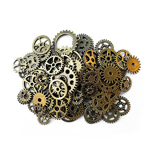 Price comparison product image Aoyoho 100 Gram Assorted Antique Steampunk Gears Charms Pendant Clock Watch Wheel Gear for Crafting