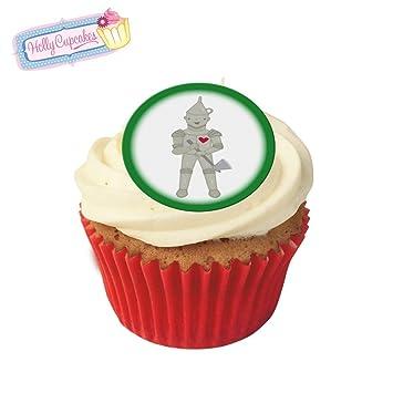 24 Pre Cut Edible Wafer Cake Toppers Wizard Of Oz Tin Man Amazon