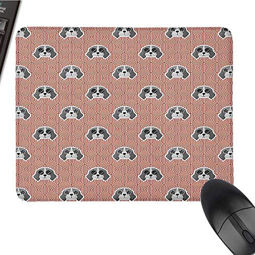Comfortable Mousepad Dog,Beagle Puppies with Sunglasses Abstract Geometric Pattern Checkered Squares, Red Grey Pale Grey Computer Mouse pad 15.7 x23.6 INCH