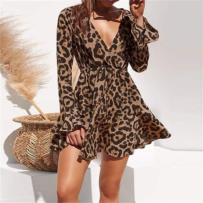 ZAJE Vestido de Gasa con Estampado de Leopardo para Mujer, Falda ...