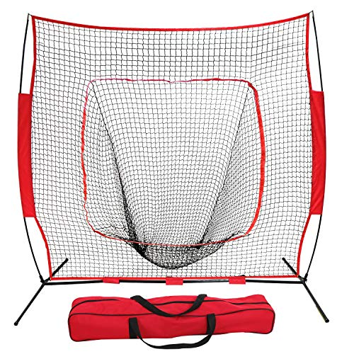 Cage Portable Backstop (ZENY 7'×7' Baseball Softball Practice Net Hitting Batting Catching Pitching Training Net w/Carry Bag & Metal Bow Frame, Backstop Screen Equipment Training Aids)