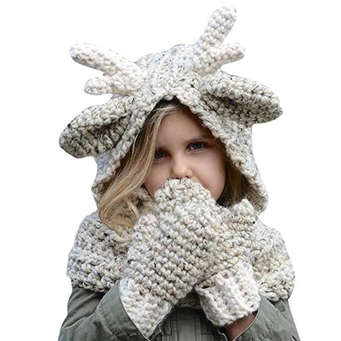 Amazon.com  Cyiecw Winter Kids Warm Hats ... (Beige)  Clothing 447b5d8acf96
