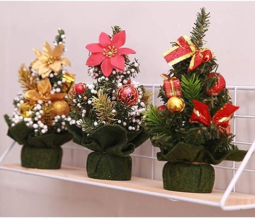EMILF Home 3pcs Tableros de Mesa Mini árboles de Navidad con Adornos navideños Flor de Navidad Flor de Pascua Adornos (Aleatorio): Amazon.es: Hogar