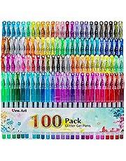 Glitter Gel Pen, 100 Neon Glitter Gel Pens Art Marker for Adult Coloring Books Bullet Journal Crafting Doodling Drawing -Perfect Gift Idea Art Supplier
