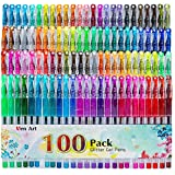 Glitter Gel Pens, 100 Color Glitter Pen Set, 30% More Ink Neon Glitter Coloring Marker for Adult Coloring Books Bullet Journaling Crafting Doodling Drawing
