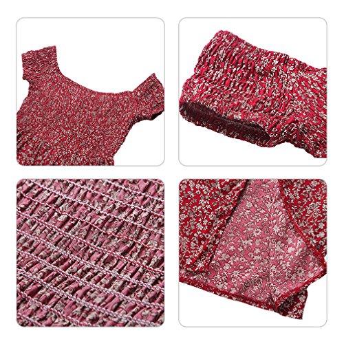 Eleganti Stampato Sera Spiaggia Rosso Lunghi Mare Cerimonia Hikong Da Fuori Floreale Vestiti spalla Donna Maxi Abito E2IW9HD