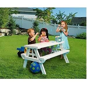 Amazon Com Kidnic Children S Picnic Table White Toys