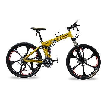 Cyrusher® bicicleta de montaña de doble suspensión para hombre color amarillo FR100 con cuadro plegable