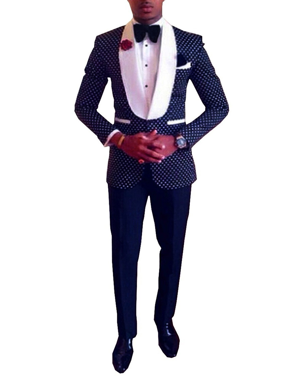 Pretygirl Men's Polka Dots Groomsmen Shawl Lapel Suit/Bridegroom/Wedding/Prom Suits (Suit+Pants) (38S,Navy Blue)