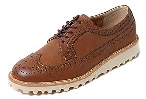 GREGO 659 Men's Oxford Classic Formal Dress Shoes Platform Casual Fashion Loafers (7 US Men, Brown)