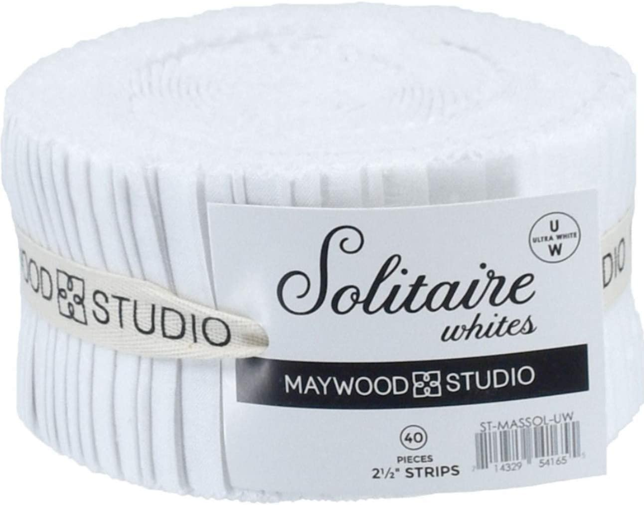 Solitaire Whites Ultra White 40 2.5-inch Strips Jelly Roll Maywood Studio