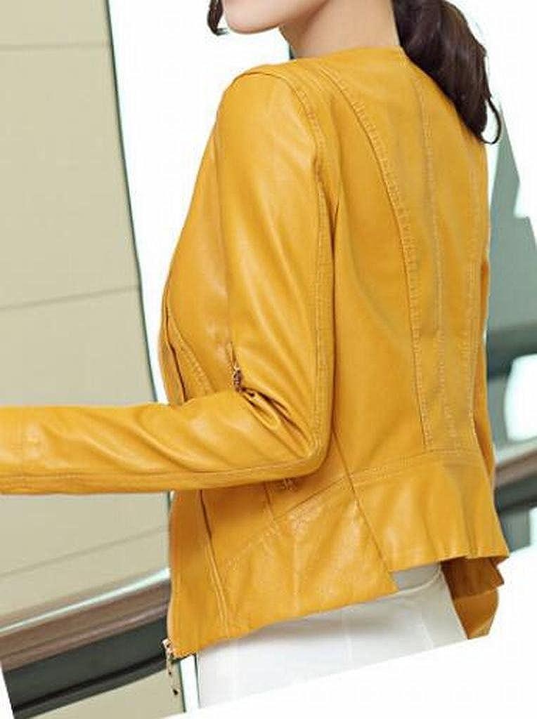 MOUTEN Womens Fashion Moto Casual Slim Fit Zip up Pu Leather Coat Jacket