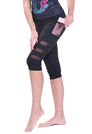 FITTOO Legging de Sport Pantacourt Femme avec Poches Taille Haute Pantalon  Yoga Collant Capri Danse Fitness db4043bb147