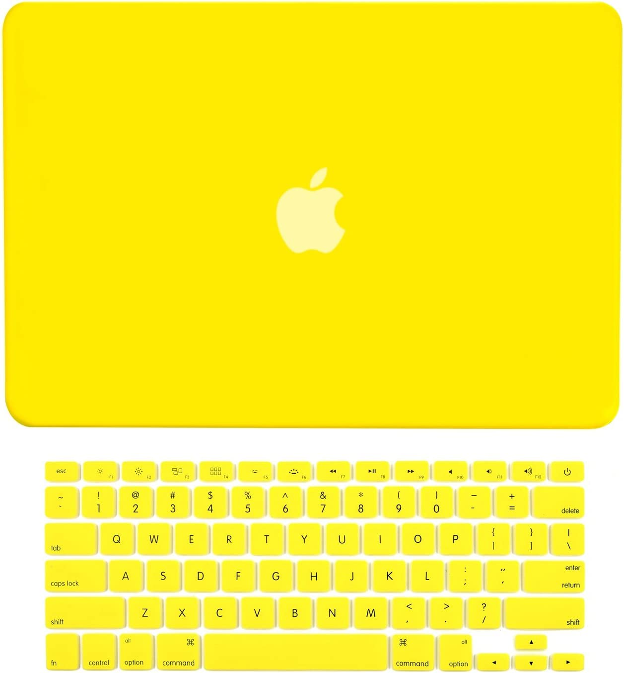 "TOP CASE - 2 in 1 Signature Bundle Rubberized Hard Case Compatible MacBook Pro 13.3""(13"" Diagonally) with Retina Display (Old Gen. 2012-2015) Model: A1425 & A1502 and Keyboard Cover - Yellow"