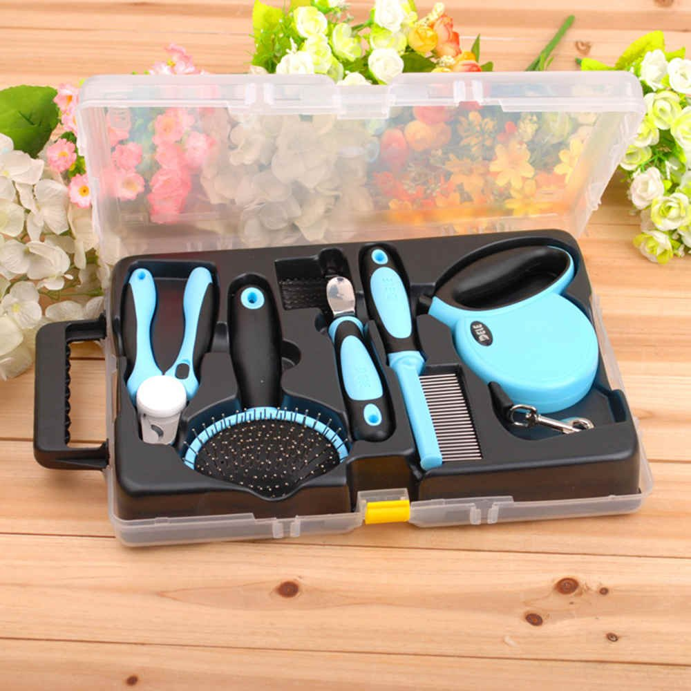 bluee Pet Dog Cat Grooming Brushes Scissors Combs Nail Clipper Safety Clean Tools Set