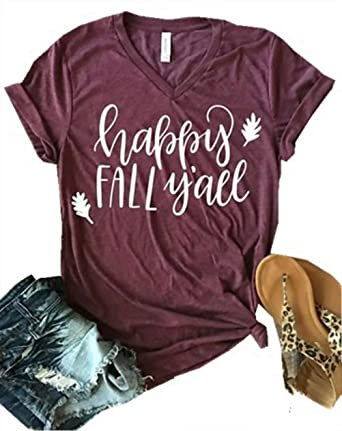 13b10f74d706 Amazon.com: Happy Fall Y'all Halloween V Neck T Shirts Womens Funny Pumpkin  Spice Letter Printed Fall Shirt Tee Tops: Clothing