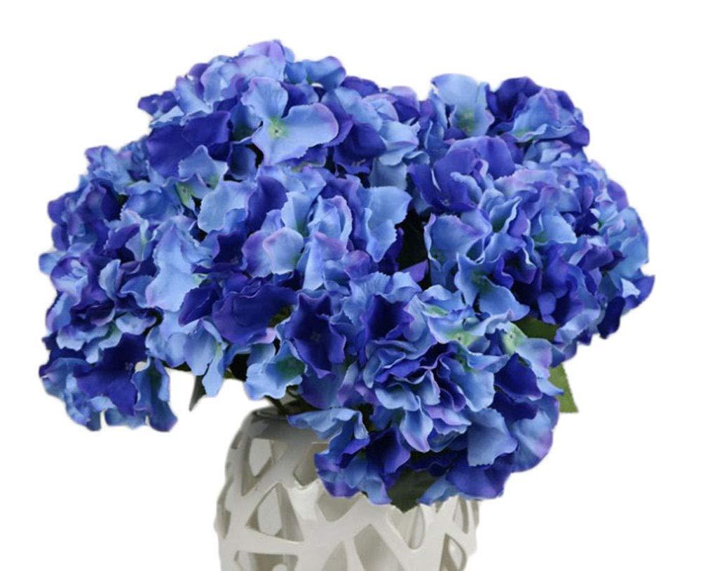 QuYTO Hydrangea Silk Flower Home Wedding Hotel Office Party Garden Craft Art Decor About 12 in, Dark blue