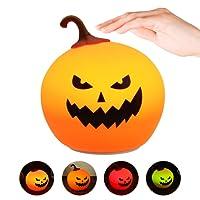 Halloween Pumpkin Veilleuse, Elfeland 4LED 7 Couleurs Veilleuse Silicone USB Rechargeable Contrôle Tactile Lumière Décoration Lampe de Nuit avec Interrupteur Capteur pour Enfants Adultes Cadeaux Festivals