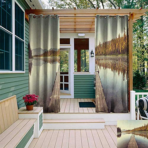 leinuoyi Fall, Outdoor Curtain Kit, Wooden Pier on The Lake Serene Morning in The Woods Fishing Misty Recreational Image, for Patio W72 x L96 Inch Multicolor