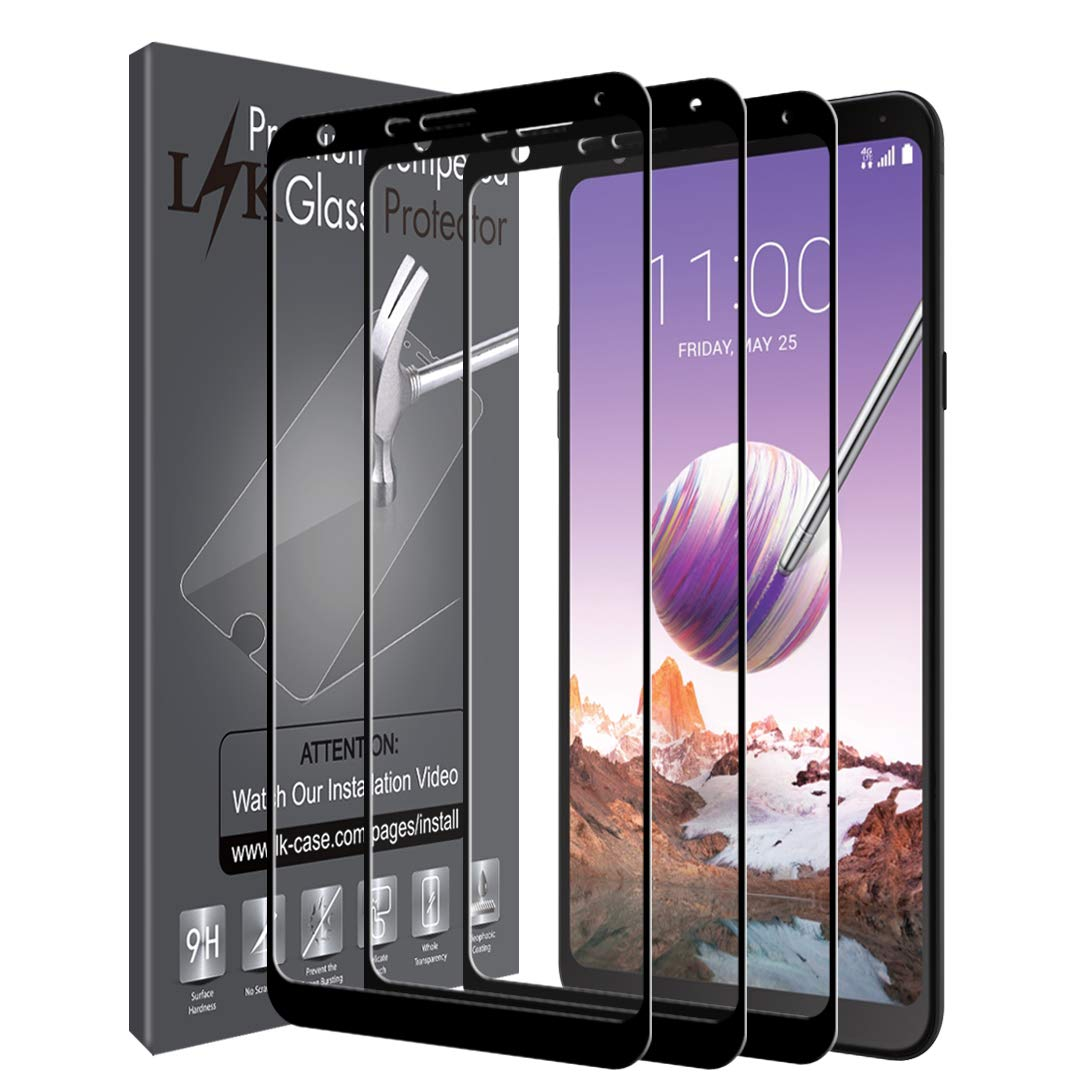 LK [3 Pack] Screen Protector for LG Stylo 4, [Full Cover] Tempered Glass  with Lifetime Replacement Warranty
