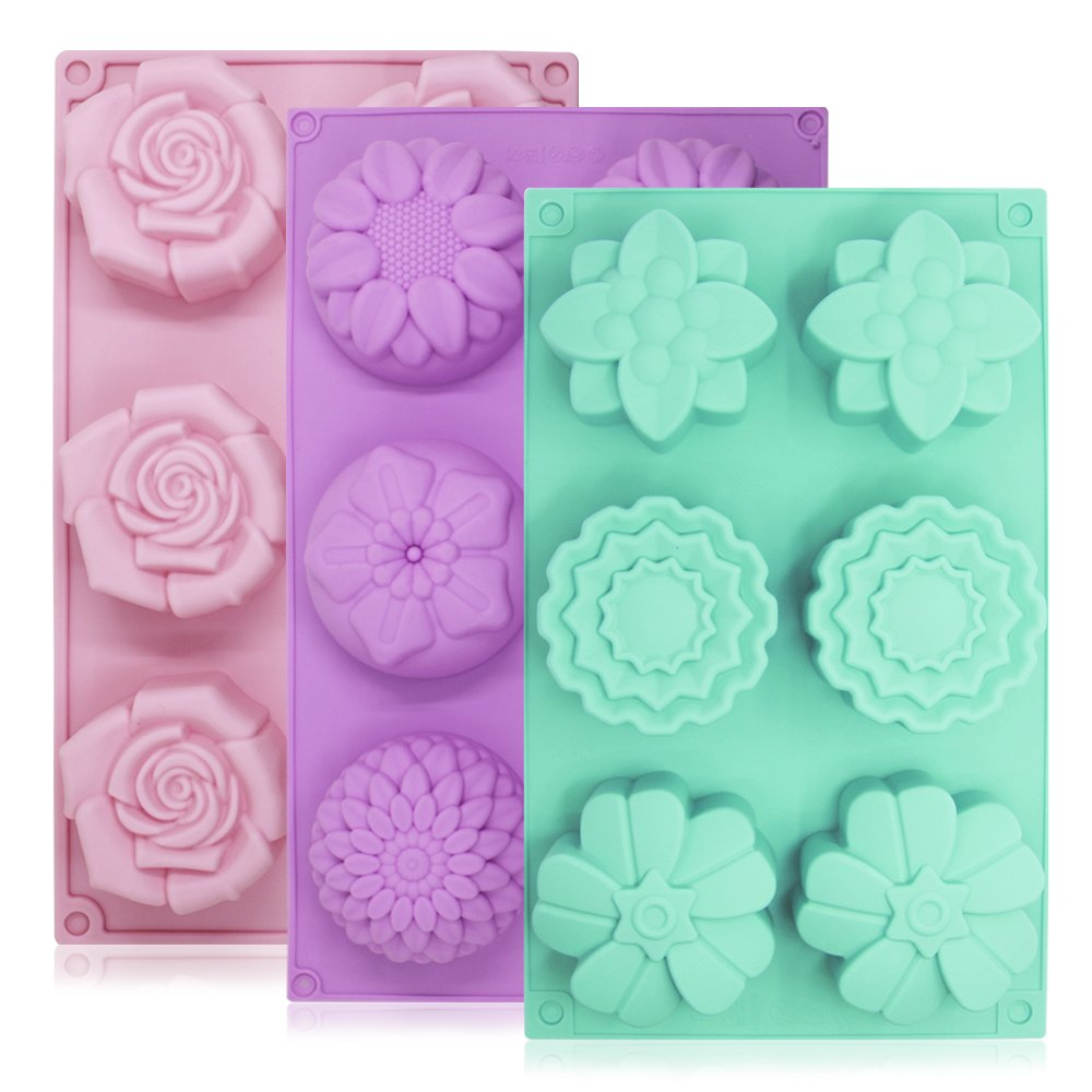 6-Cavity Silicone Flower Shape Cake Molds, YuCool 3 Packs Fondant Shape Decorating Ice Cube Trays for Homemade Cake Chocolate Cupcake - Purple Green Pink